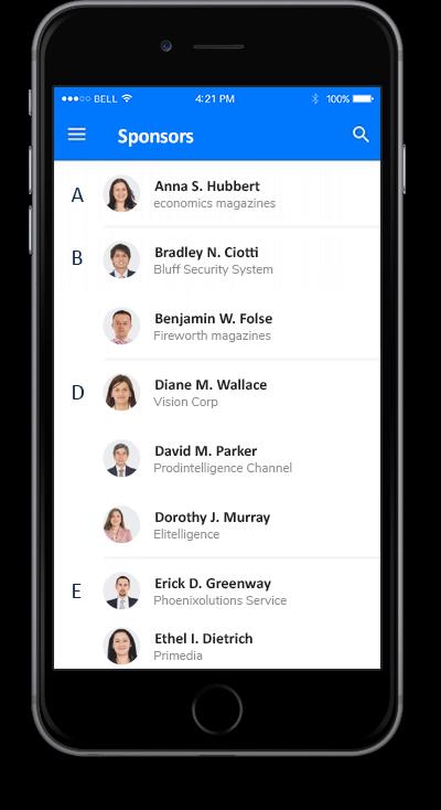 eventRAFT App - Sponsors Screen
