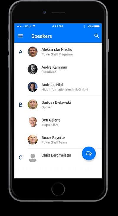 eventRAFT App - Speakers Screen