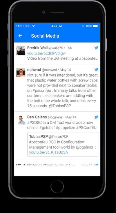eventRAFT App - Social Media Screen