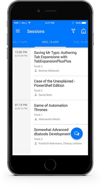 eventRAFT App - Sessions Screen