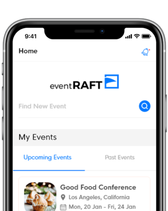 eventRAFT - Home Screen - Mobile app for events